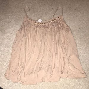 pink tank top with gold pears on the neckline